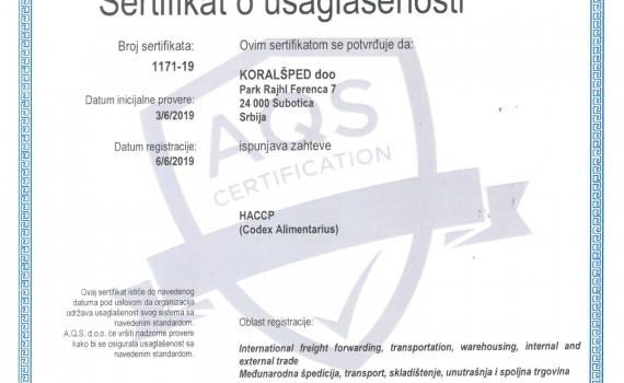 KORAL SPED - sertifikaat HACCP-1
